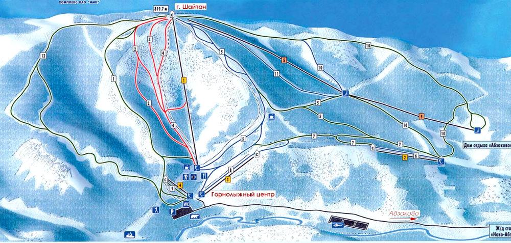 Фото: Схема трасс — горнолыжный курорт Абзаково