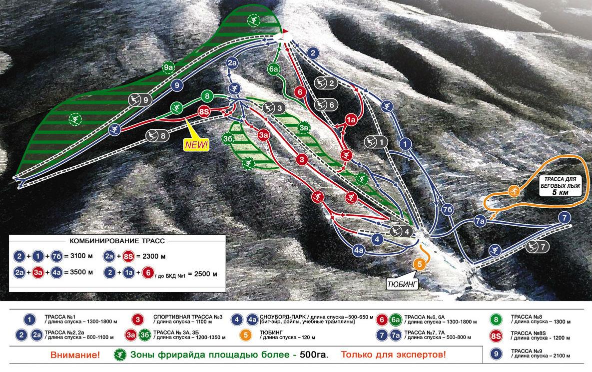 Фото: Схема трасс — горнолыжный курорт Аджигардак
