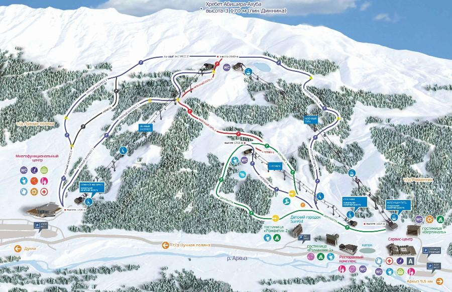 Фото: Схема трасс — горнолыжный курорт Архыз