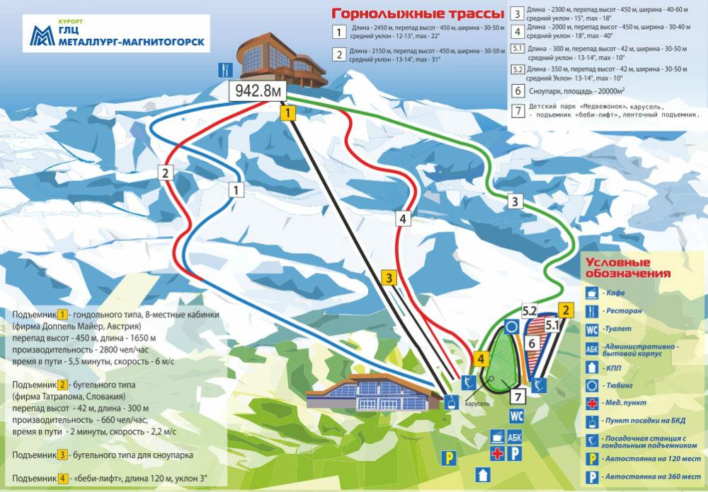 Фото: Схема трасс — горнолыжный курорт Банное
