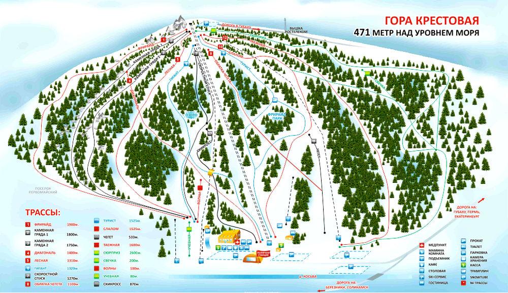 Фото: Схема склонов — горнолыжный курорт Губаха