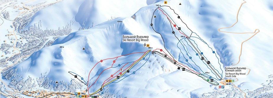 Фото: Схема трасс — горнолыжный курорт Большой Вудъявр